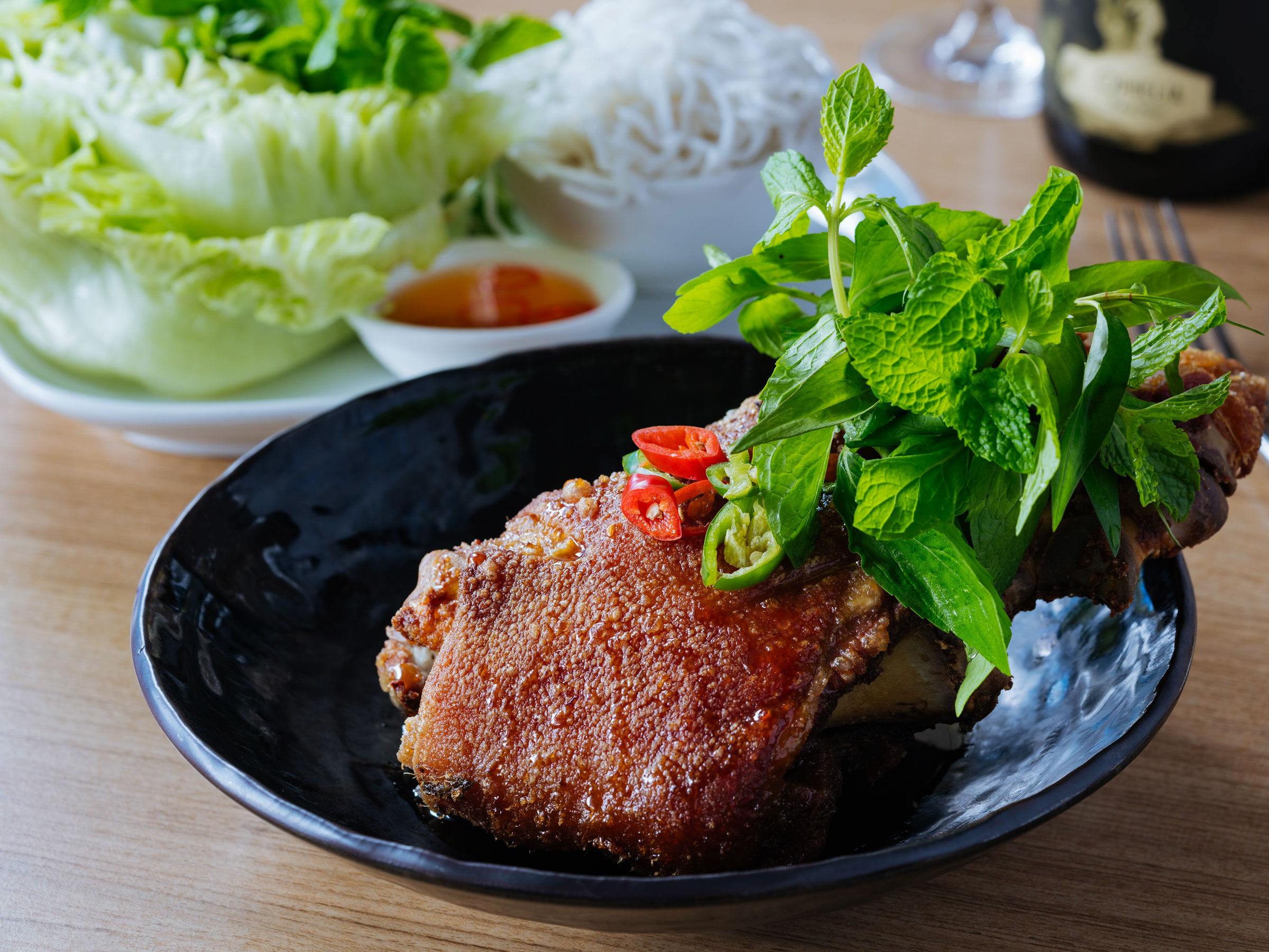Recipe finder porkstar porkstar crispy pork hock with tamarind sauce chili and trio of mint forumfinder Choice Image