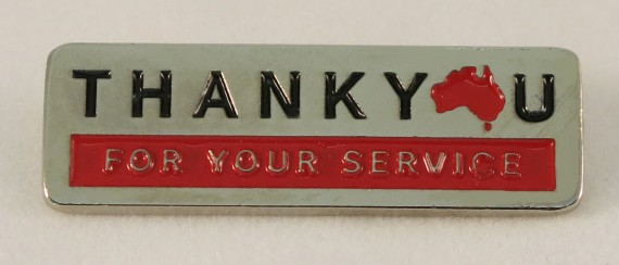 Thank you for your service lapel pin