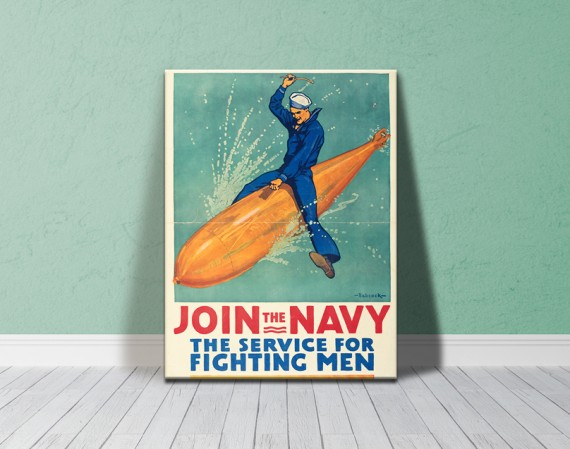 Canvas print: Join the Navy: the service for fighting men