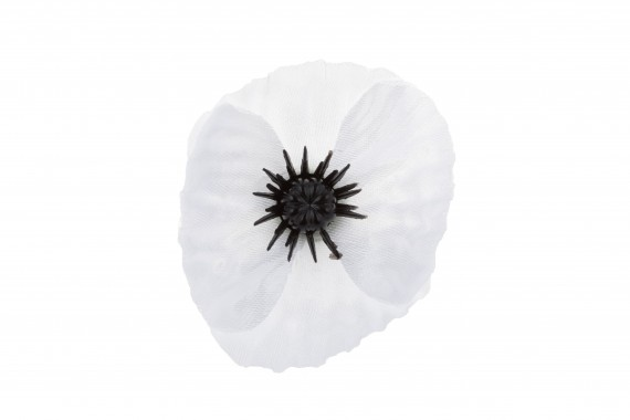 White Poppy lapel pin