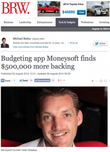 BRW story on Moneysoft raising $500k