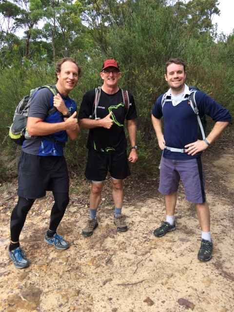 BlueChilli's Alan Jones, Tony Burrett and Seb Eckersley-Maslin early in training for this year's Trailwalker