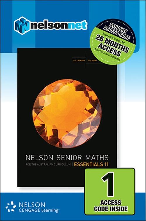 Nelson Senior Maths Essentials 11 for the Australian Curriculum (1 Access Code Card)