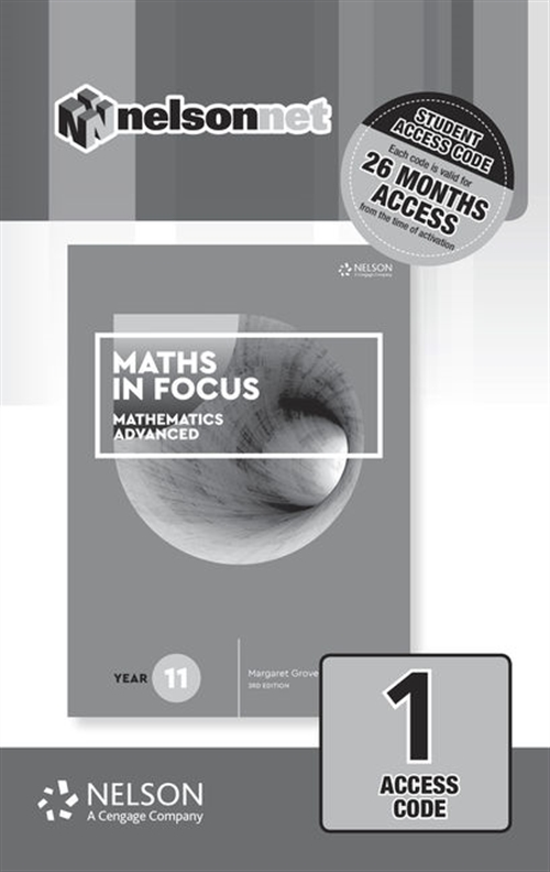 Maths in Focus 11 Mathematics Advanced 1-Code Access Card