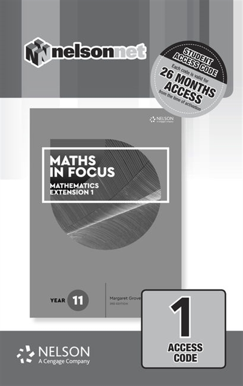 Maths in Focus 11 Mathematics Extension 1 - 1 Code Access Card