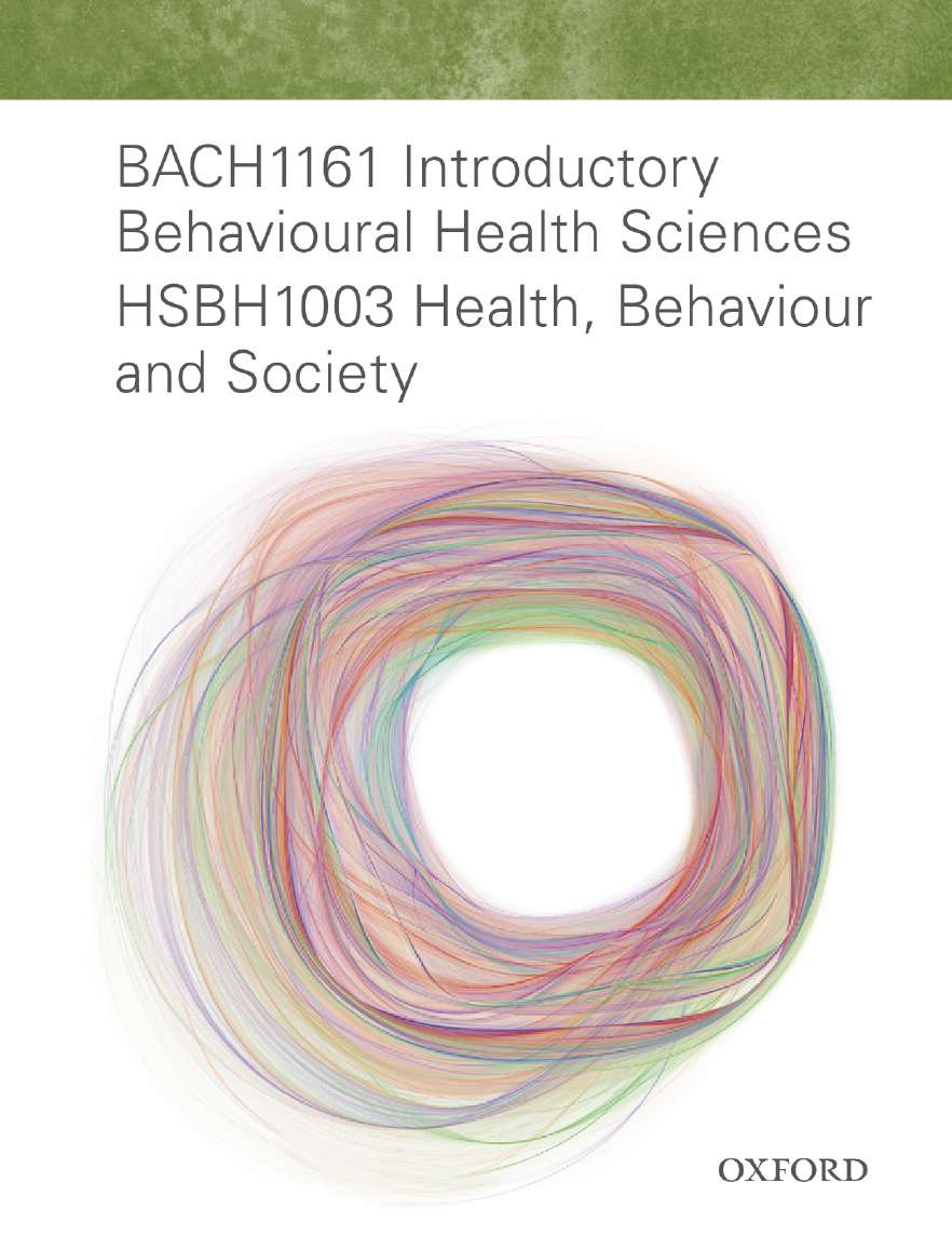 BACH1161 Intro Behav Health Sciences HSBH1003 Health, Behaviour & Society eBook