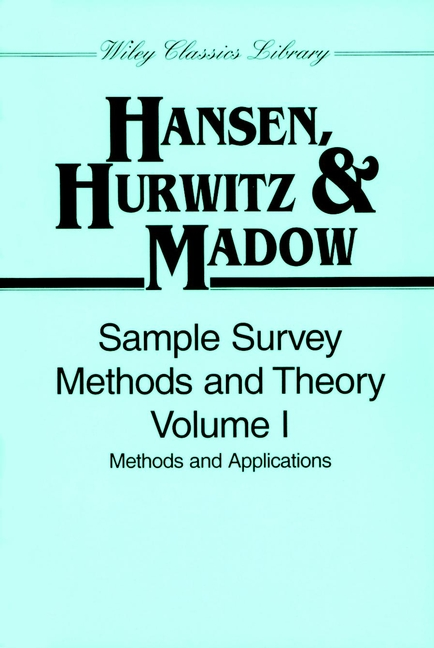Sample Survey Methods and Theory, Volume 1