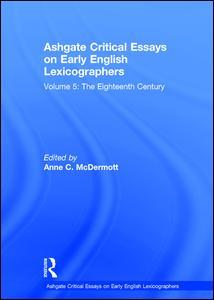 Ashgate Critical Essays on Early English Lexicographers