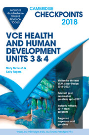 Cambridge Checkpoints VCE Health and Human Development Units 3 and 4 2018 and Quiz Me More