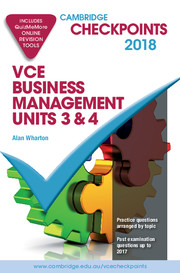 Cambridge Checkpoints VCE Business Management Units 3 and 4 2018 and Quiz Me More