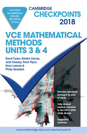Cambridge Checkpoints VCE Mathematical Methods Units 3 and 4 2018 and Quiz Me More
