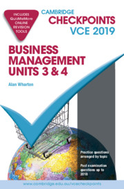 Cambridge Checkpoints VCE Business Management Units 3 and 4 2019 and QuizMeMore