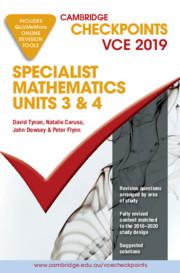 Cambridge Checkpoints VCE Specialist Mathematics 3&4 2019 and QuizMeMore