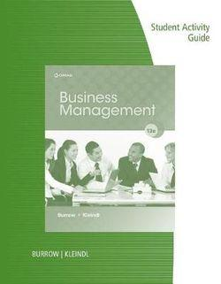 Student Activity Guide for Burrow/Kleindl's Business Management, 13th
