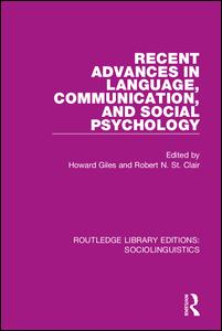 Recent Advances in Language, Communication, and Social Psychology