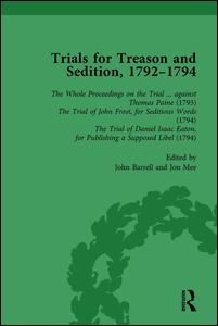 Trials for Treason and Sedition, 1792-1794, Part I Vol 1