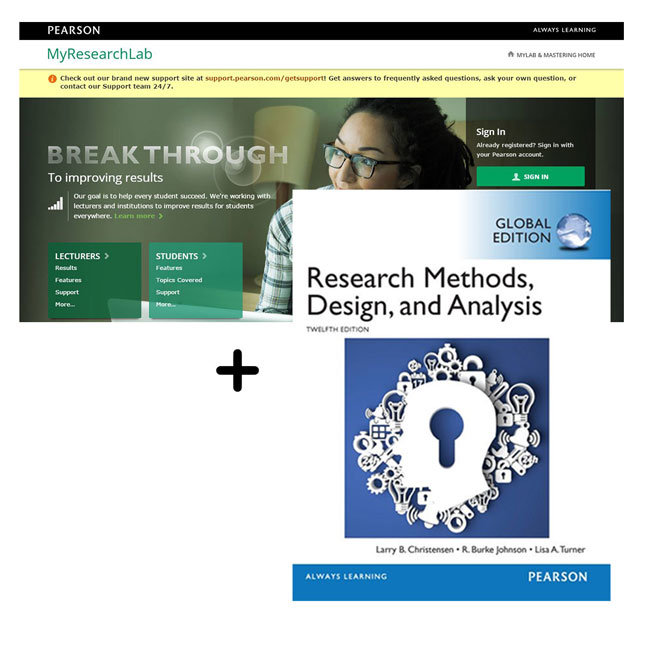 Research Methods, Design and Analysis, Global Edition + MyLab Research