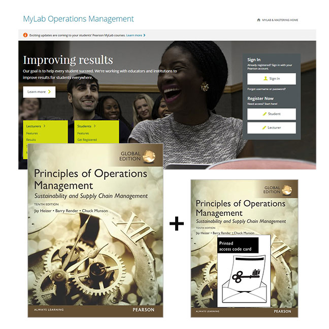 Value Pack Principles of Operations Management: Sustainability & Supply Chain Management Global Edition + MyLab Operations Management with eText