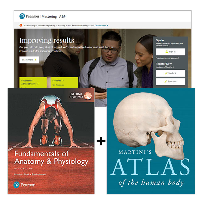 Fundamentals of Anatomy & Physiology, Global Edition + Martini's Atlas of the Human Body + Mastering A&P with eText