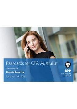 CPA Australia C1 - Financial Reporting Passcards