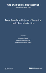 New Trends in Polymer Chemistry and Characterization: Volume 1613