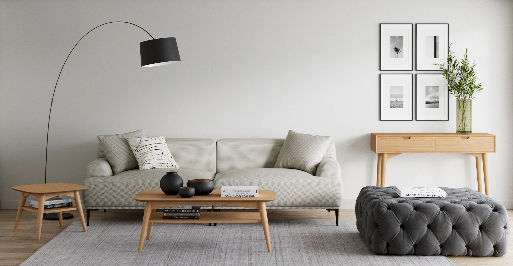 Brosa Mia Coffee Table with Shelf styled in Scandinavian living room