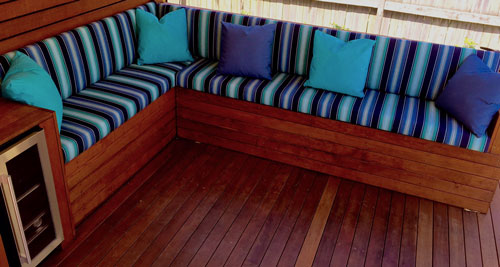 Custom Outdoor Bench Seating With Backs In Sunbrella Saxon