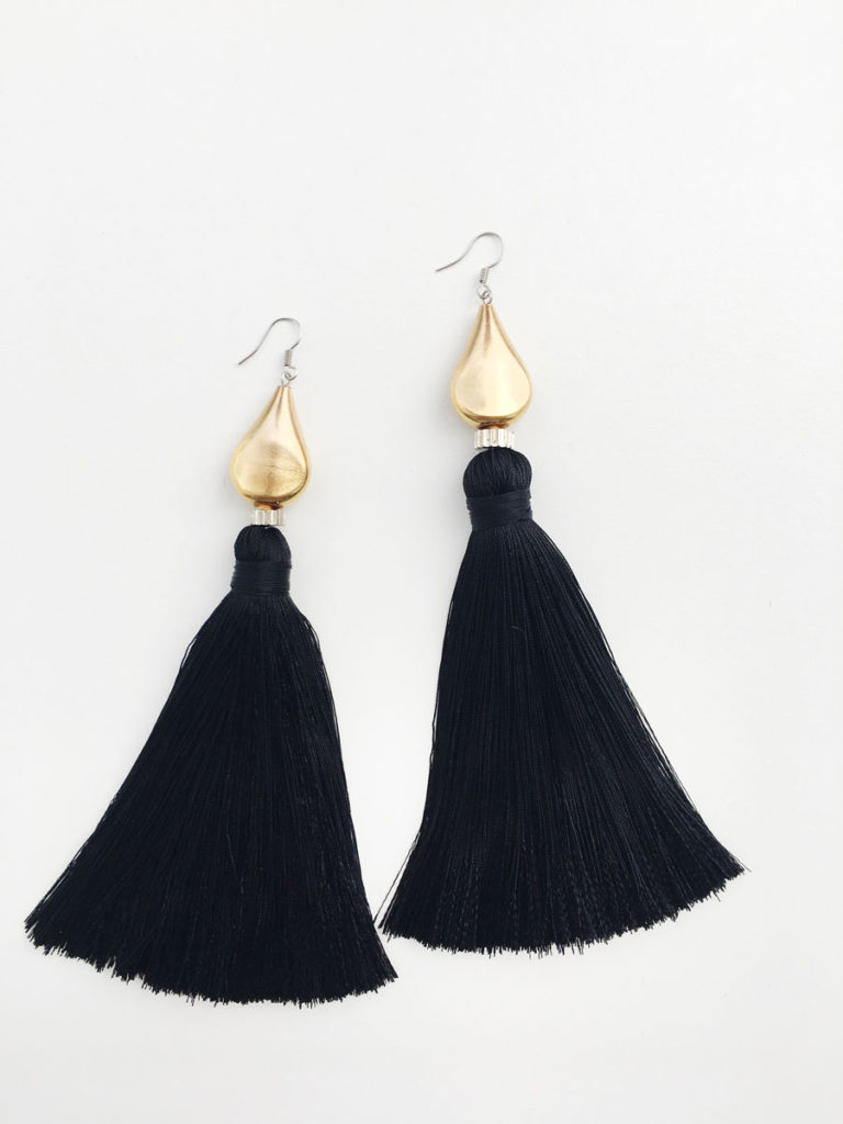 Natalie Alamein Taj Black Earrings XL