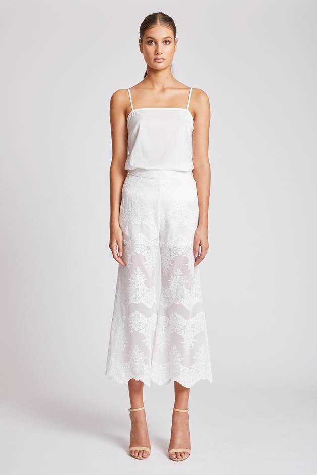 Shona Joy Antigua Relaxed Cropped Flare – Ivory