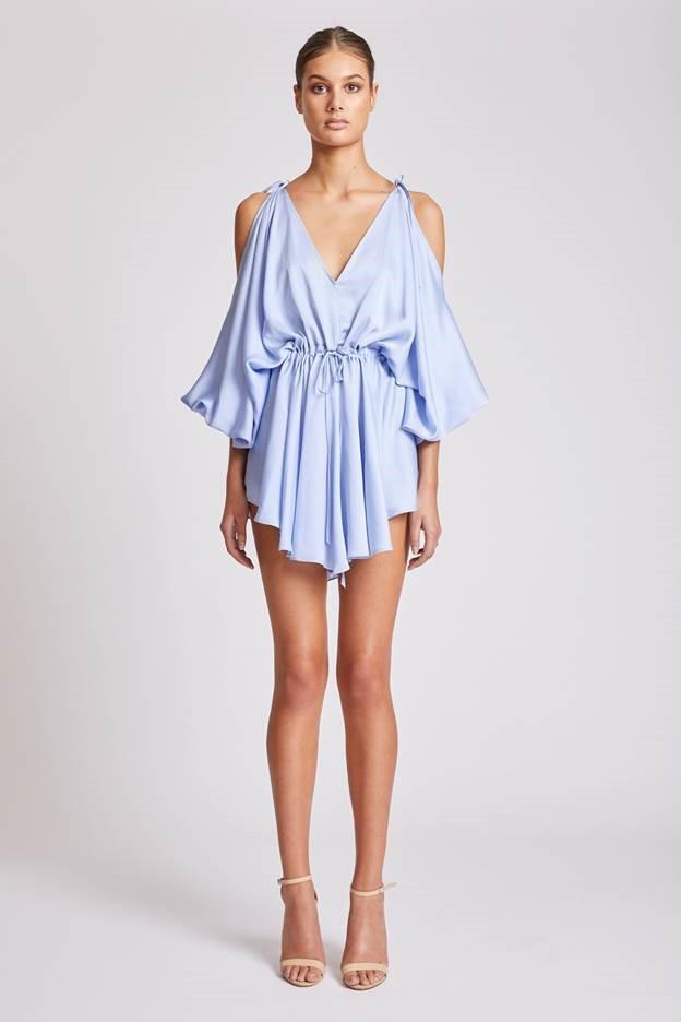 Shona Joy Calypso Open Shoulder Mini Dress – Cornflower