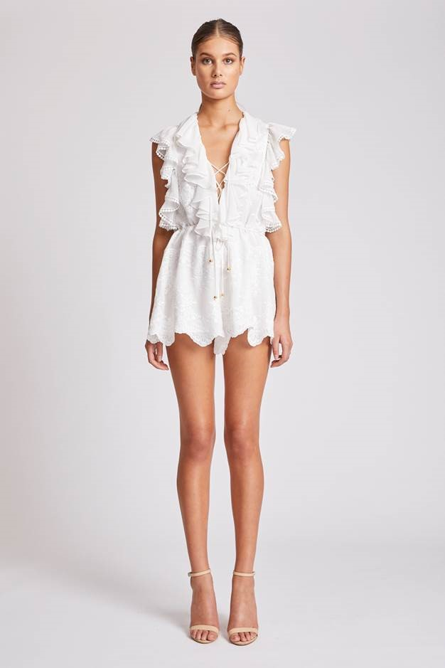 white ruffle playsuit