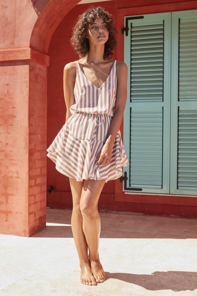 Shona Joy San Remo Drawstring Mini Dress – Mocha Stripe