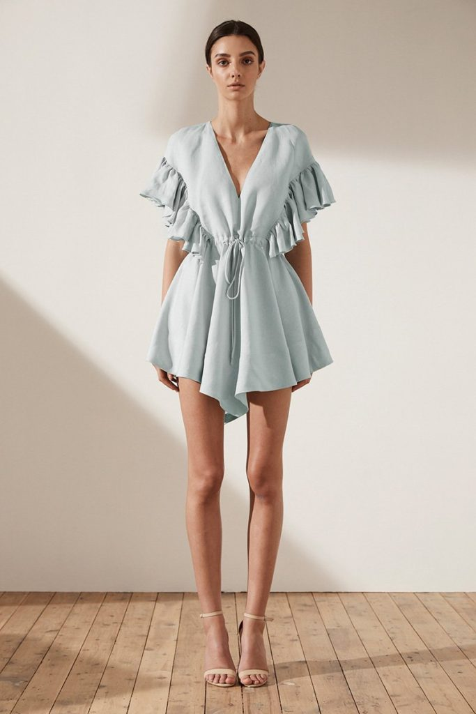 Shona Joy ARIA RUFFLE DRAWSTRING MINI DRESS – SKY
