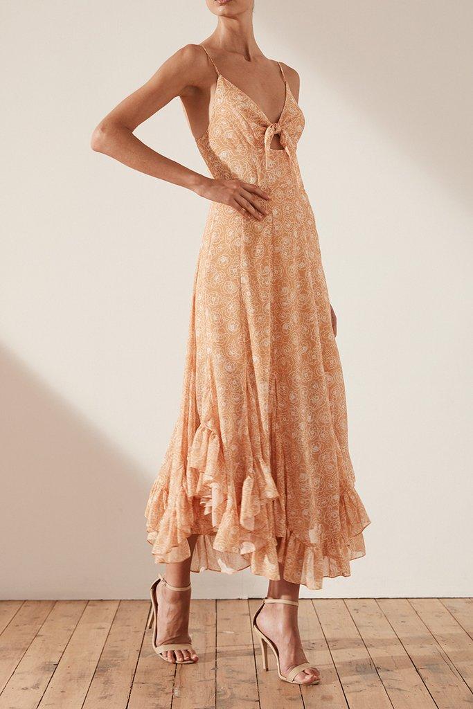 Shona Joy Siena Tie Front Godet Midi Dress
