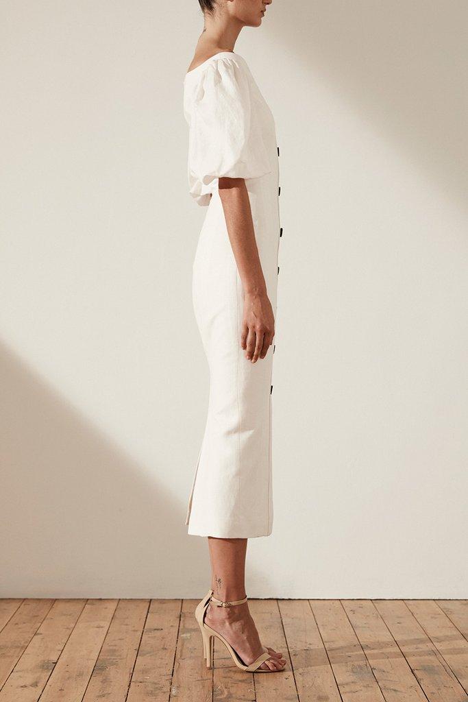 Shona Joy Gaia Linen Fitted Midi Dress Luxe to Leisure