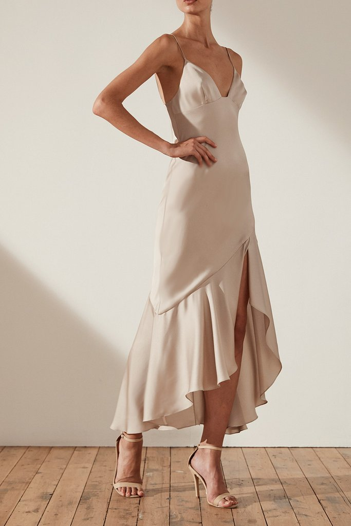 Shona Joy Oro Bias Frill Midi Dress