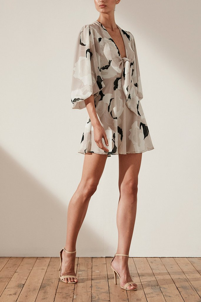 Shona Joy Flora Tie Front Mini Dress