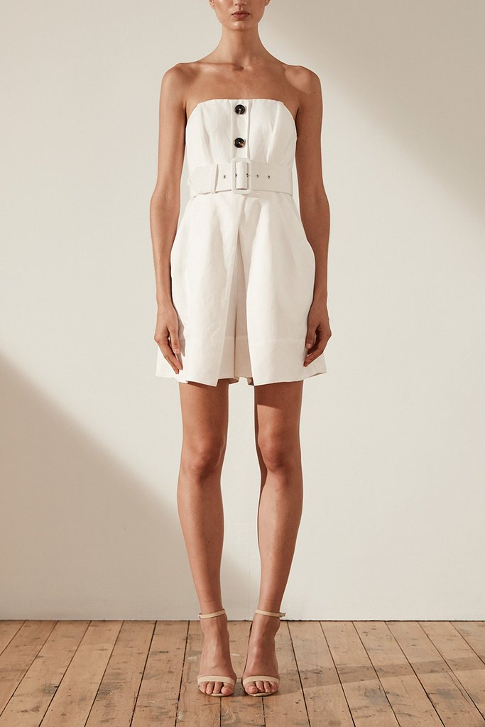 Shona Joy Gaia Linen Bustier Playsuit with Belt – Ivory