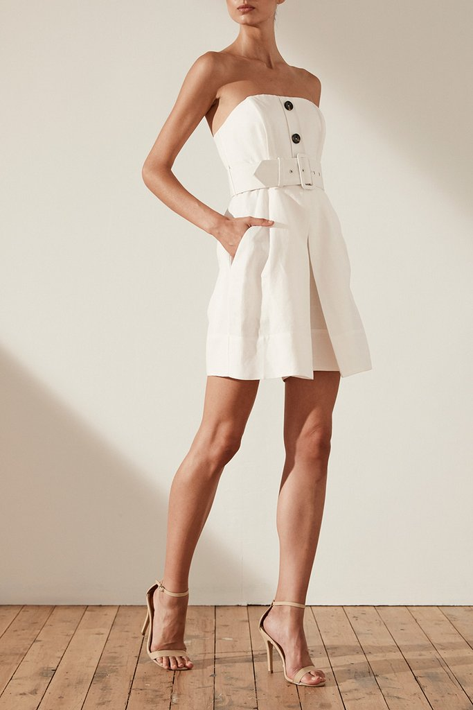 4d195ee1ac Shona Joy Gaia Linen Bustier Playsuit with Belt - Ivory - Luxe to ...