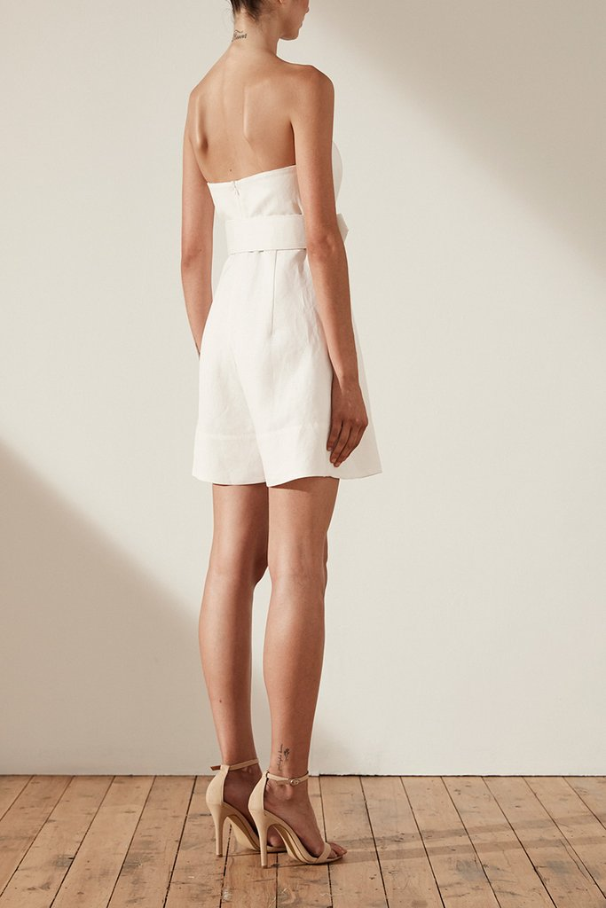 c01636c197c Shona Joy Gaia Linen Bustier Playsuit with Belt - Ivory - Luxe to ...