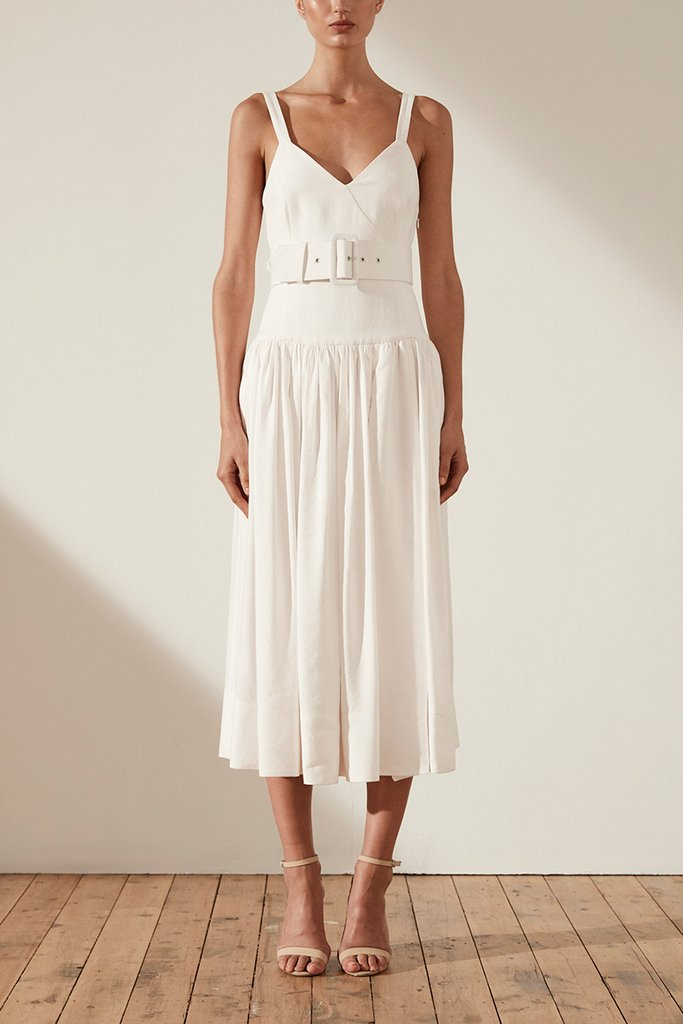 Shona Joy Gaia Linen Drop Waist Midi Dress with Belt – Ivory
