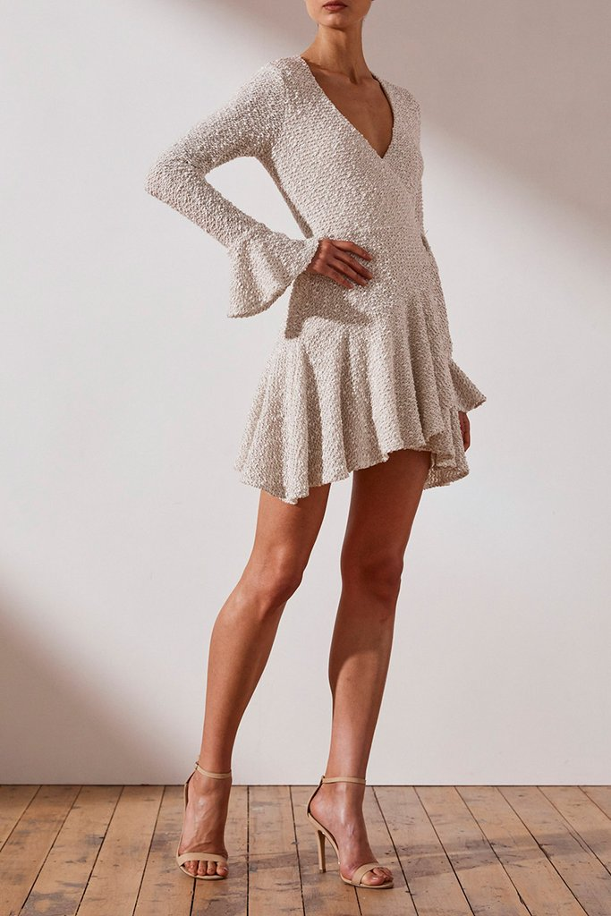 Shona Joy Hayes Frill Cuff Wrap Mini Dress