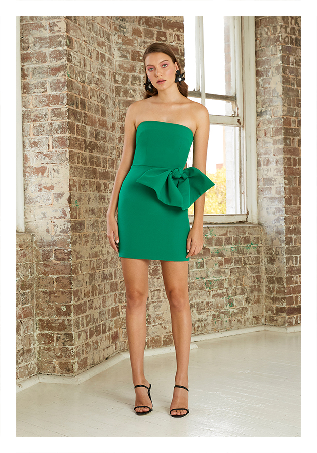 By Johnny Bow Tie Mini Dress (Forest Green)