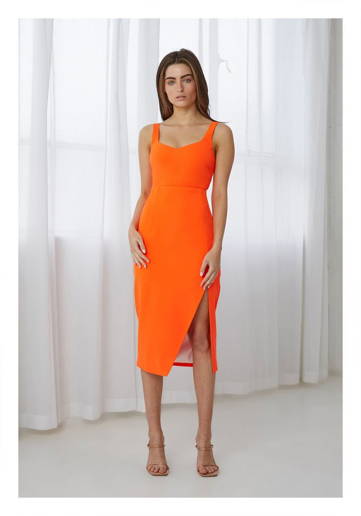 By Johnny Citrus Split Midi Dress (Neon Orange)