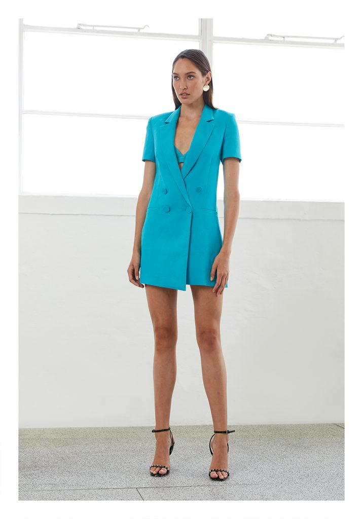 By Johnny Eden Cut-off Blazer Dress – Electric Blue