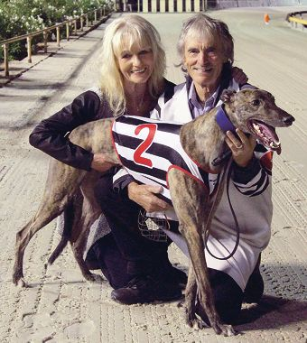 Brenda Crossley and John Crossley (trainer) with On Coin.