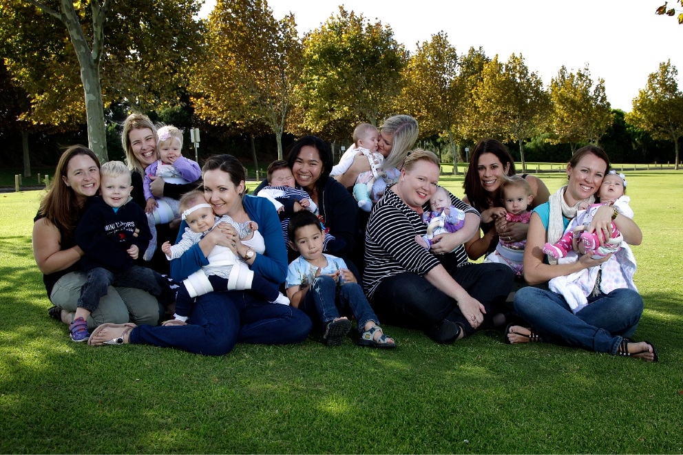 Jemma Bailey with Finn (2.5 y old), Danielle Sayer with Aaliyah (9 months), Cheri Pestell with Leia (7 months), Lena Walsh with Gabriel (4 y old) and Elijah (7 months), Claire Bassula with Ellie (5 months), Natalie Black with April (11 weeks), Alicia Wright with Lily (18 months) and Genelle Fidler with Jasmine (11 weeks). Picture: Marie Nirme d452317