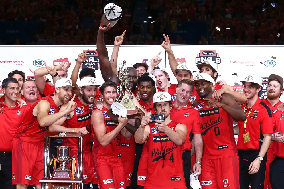 The Perth Wildcats celebrate becoming the 2015-16 NBL champions after beating the New Zealand Breakers, with Greg Hire taking the selfie. Picture: Getty Images