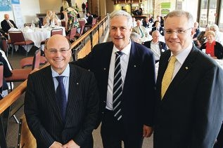 Senator Arthur Sinodinos,Canning MHR Don Randall and Opposition spokesman for Immigration and Citizenship Scott Morrison at the function. Picture: Marcelo Palacios d403472