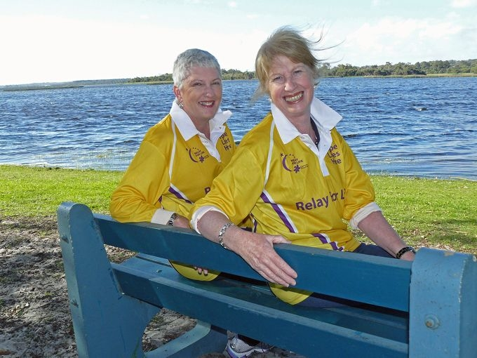 Cancer survivors Robyn Savage and Bernice Marwick at Picnic Grove, Lake Joondalup.